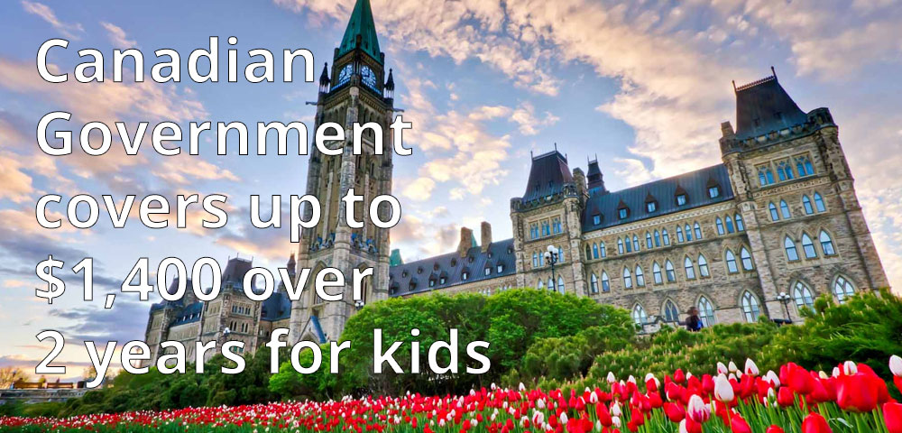 Canadian Government covers up to $1,400 over 2 years for kids